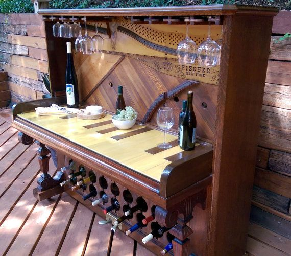Gorgeous Repurposed Handmade Vintage Piano Wine Bar