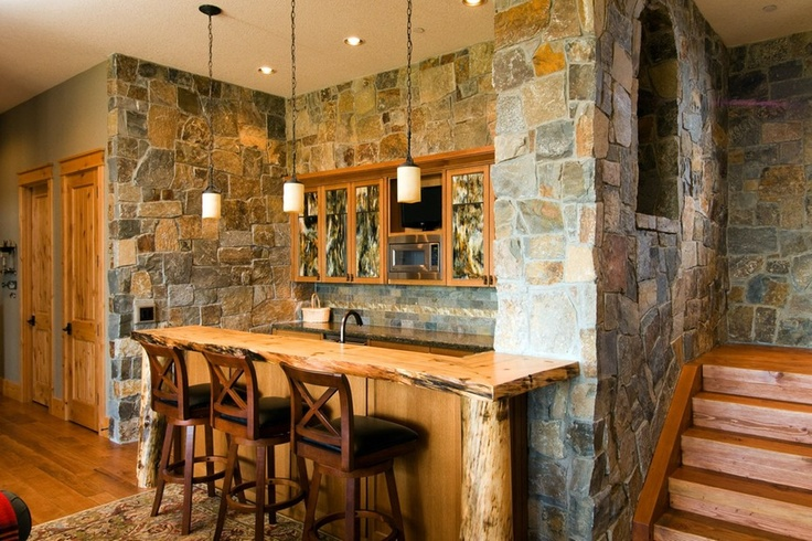 Rustic Bar Design In Stone And Wood Perfect For The