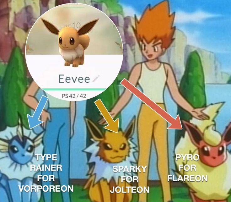 """When you're ready to evolve your Eevee, you can control its next form by changing its name to one of three trainers fromPokémon.• Rename Evee """"Rainer"""" to get Vorporeon• """"Sparky"""" to get Jolteon• """"Pyro"""" to get FlareonThis trick shows a 100 percent success rate, but you do still have to hit the evolve button, so you'll need enough Eevee candy for this to work."""