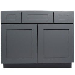 """42 Inch Bathroom Vanity Single Sink Cabinet in Shaker Gray with Soft Close Drawers & Doors 42"""""""