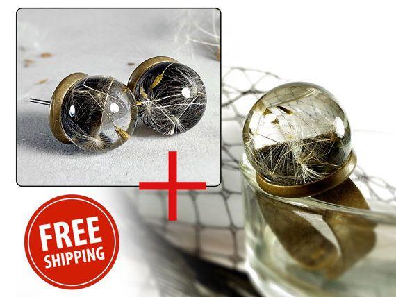Real dandelion sets Dandelion earrings Dandelion by ByEmilyRay