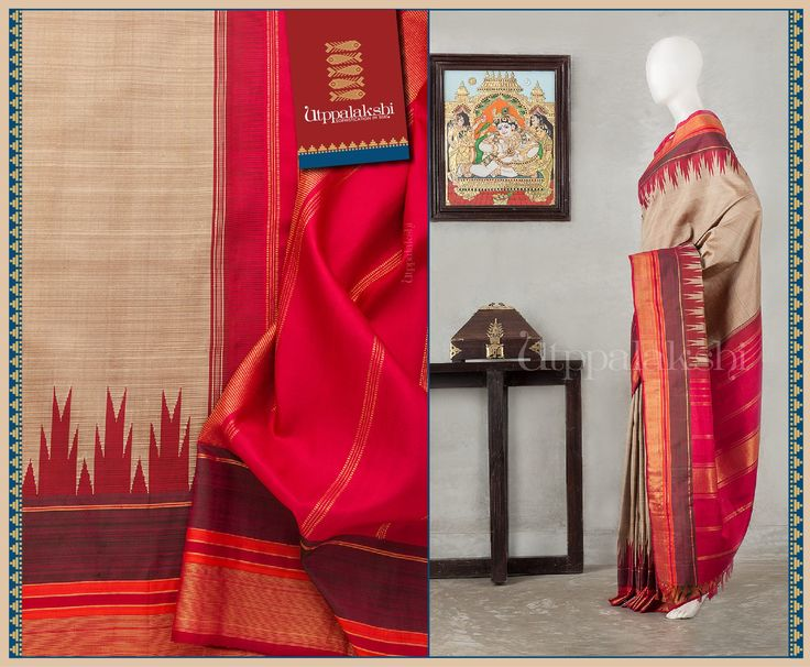 This beige and brown ensemble with an striking temple pattern at the border, is a perfect contender.  The pallu has a splash of red.#Utppalakshi #Silksaree#Kancheevaramsilksaree#Kanchipuramsilks #Ethinc#Indian #traditional #dress#wedding #silk #saree #weaving#Chennai #boutique #vibrant#exquisit#weddingsaree#sareedesign #colorful #vivid #indian #southindian #bridal #festival #sophistication  https://www.facebook.com/Utppalakshi/ Contact  097899 37149