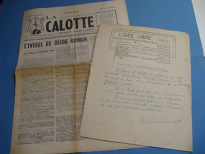 ANDRE LORULOT Autographe Signé 1929 LIBRE-PENSEUR ANARCHISTE CALOTTE à BERAUD