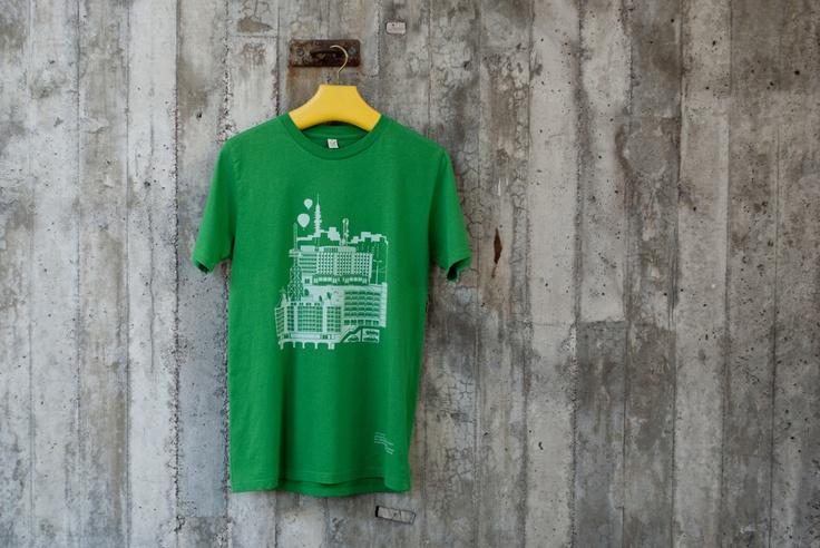 "Hand printed t-shirt ""Pasila"". 100% organic cotton."