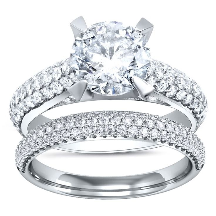 Micro-Pave Natural Diamond Engagement Ring
