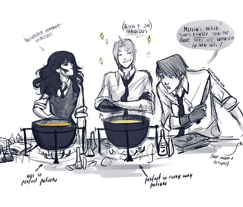 by http://viria.tumblr.com/post/37907591374/in-which-edward-is-a-hogwarts-student-and