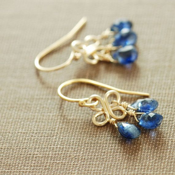 My Beautiful Birthstone: September Birthday Blue Gemstone Chandelier Earrings, 14k Gold Fill Kyanite Dangle Clovers Handmade