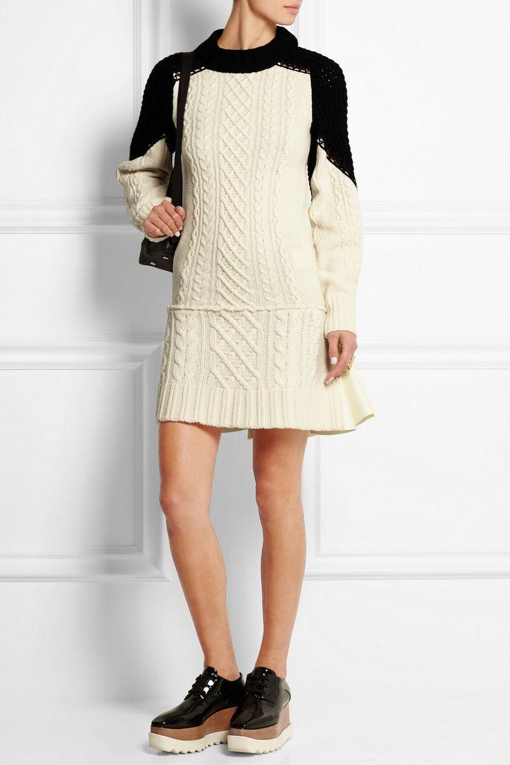 Sacai   Pleated cable-knit wool dress   NET-A-PORTER.COM