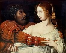 Roomalaisen legendan Lucretia säilytti kunniansa surmaamalla itsensä raiskauksen jälkeen. Jan Sanders van Hemessenin maalaus 1500-luvulta.