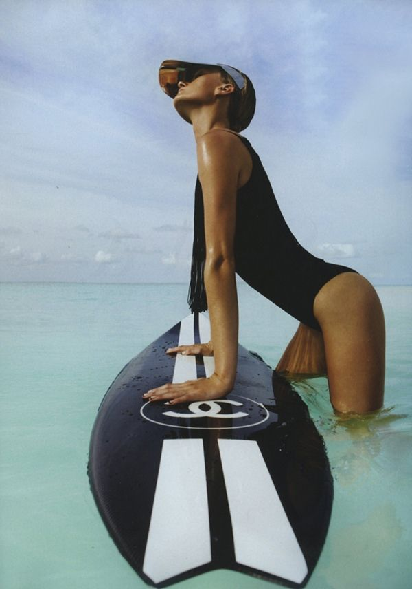 WOLFCUB: INSPIRATION black swimsuit chanel surf board