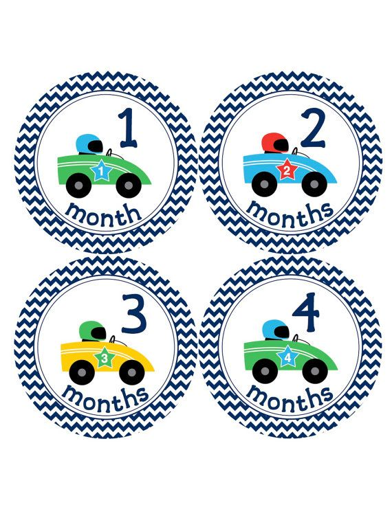 Baby Boy Monthly Stickers…Racecars Cars Race Cars...Baby Shower Gift Photo Prop Baby Milestone Stickers Month to Month Bodysuit Stickers