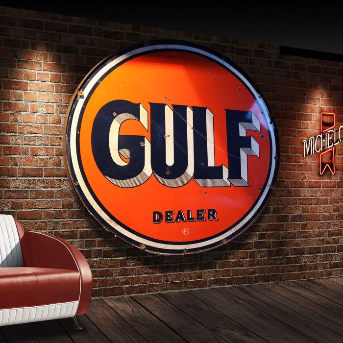 Gulf Oil Vintage enamel sign | The Games Room Company