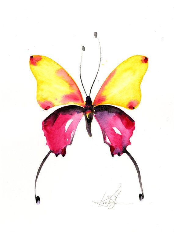 Abstract Butterfly Watercolor Painting Yellow Pink Art Original Ooak Painting Quot Watercolor Butterfly 9 Quot Kathy Morton Stanion Ebsq In 2020
