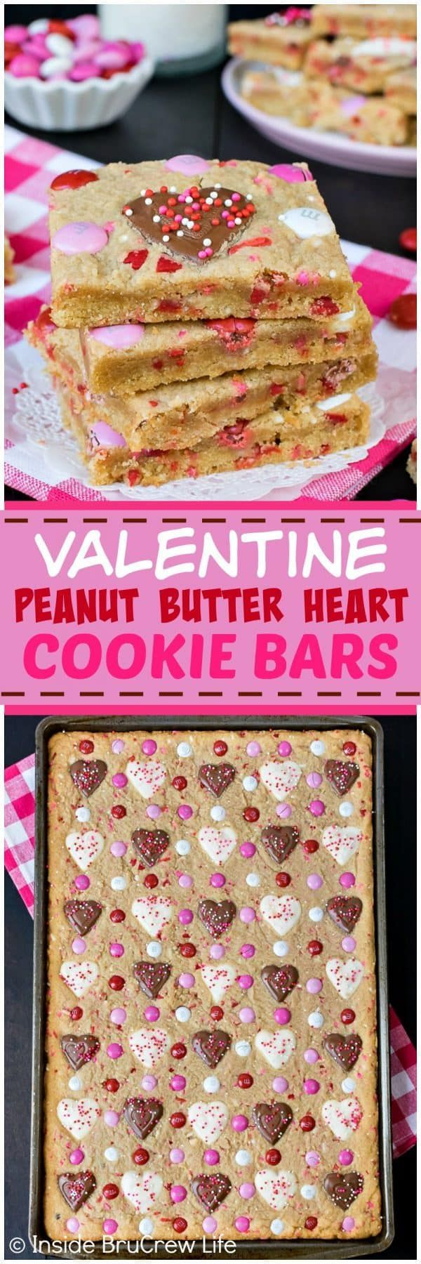 Valentine Peanut Butter Heart Cookie Bars - these easy bar cookies are loaded with sprinkles, candies, and peanut butter cup hearts! Such a quick and easy recipe to make for Valentine's day parties! #cookies #peanutbutter #peanutbutterhearts #valentine #valentinesdaytreats #cookiebars #dessert #reeses