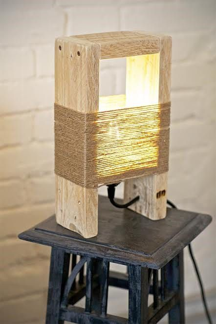 Lovely wood lamp made with pallet parts and thin natural ropes.Fully handmade in Italy. Buy Now