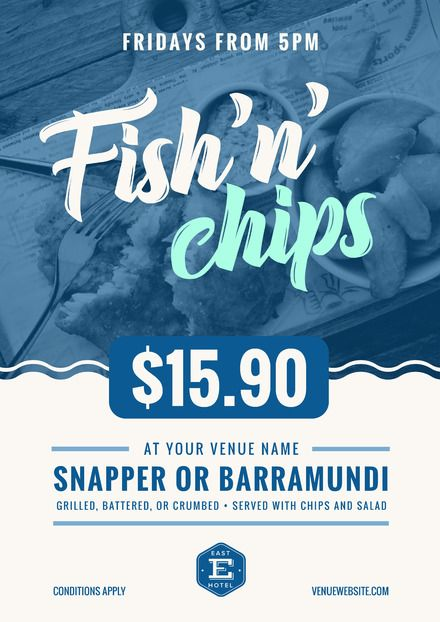 Blue and White Fish & Chips poster with wave graphic