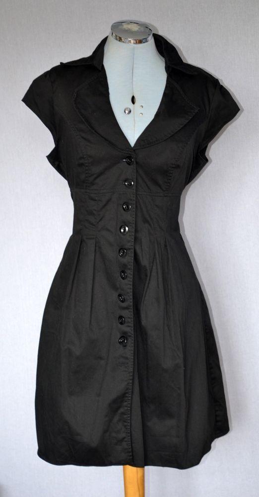 S14 DORETHY PERKINS Gothic Black Plunge Neckline 50s Rockabilly Military Dress #rockabilly #plunge #50s