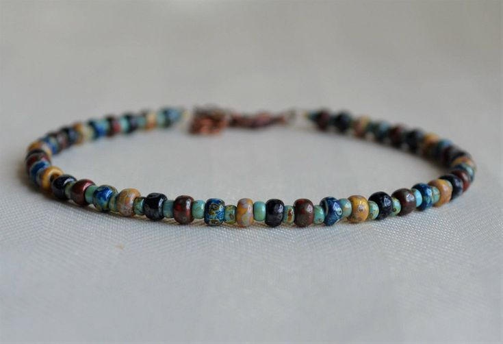 Rustic Picasso Beaded Anklet Ankle Bracelet Multi Color Body Jewelry Ankle Jewelry Boho Bohemian Gifts For Her JewelryByYevga by JewelryByYevga on Etsy
