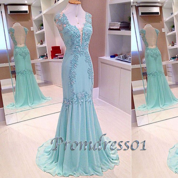 2015 elegant v-neck open back light blue A-line long lace chiffon prom dress for teens, ball gown, cute evening dress #promdress #coniefox #2016prom