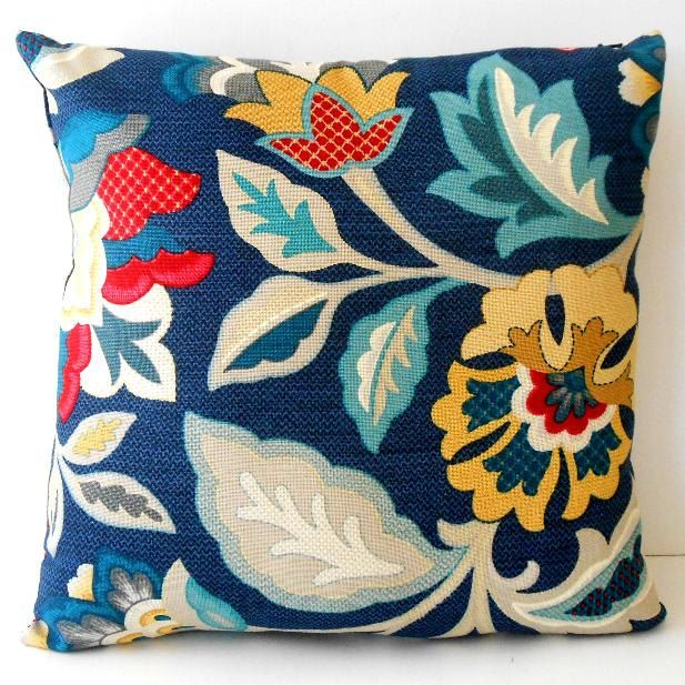 This pretty floral pillow cover is in shades of red, yellow, turquoise, grey and cream on a royal blue background. The fabric is by Waverly and the design is called Katia Adriatic. This is a mid-weight home decorating fabric and I have used this same print on both sides with the zipper closure on the bottom. The pillow cover pictured above is the one that you will receive.  This is for one pillow cover which measures about 15 square so that it will be nice and full once a 16 pillow form is…