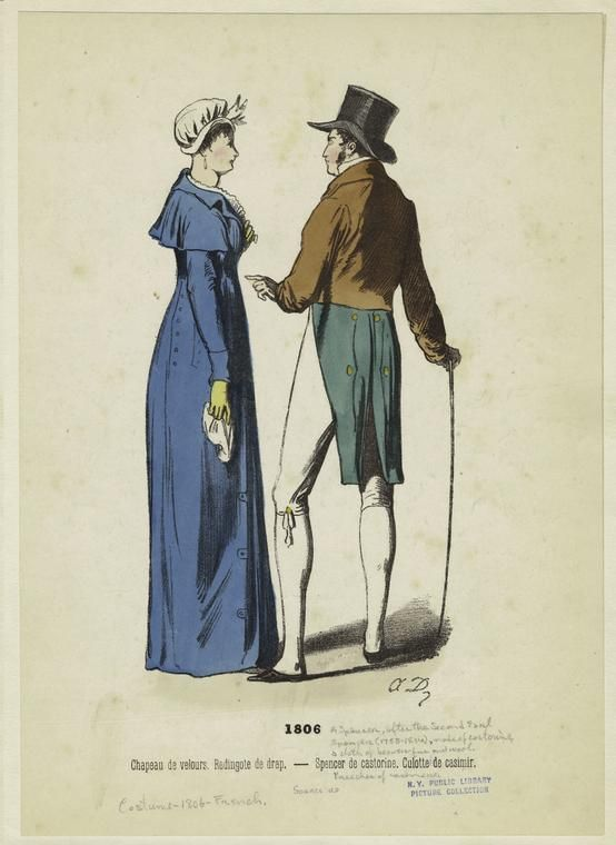 Chapeau de velours, Redingote de drap-- Spencer de castorine, Culotte de casimir. (1806)