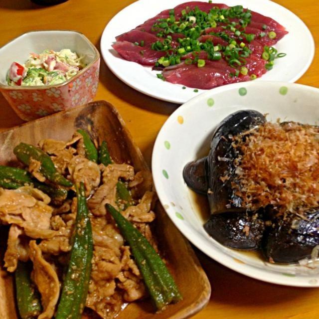 ナスの煮浸し、オクラと豚肉炒め、キャベツのサラダ、かつおのお刺身☆今晩のおかずたちです! - 8件のもぐもぐ - なすの煮浸しと、オクラ豚肉炒め by yuka0515