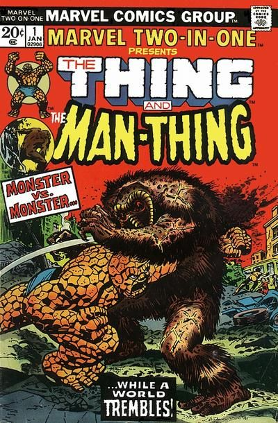The Thing, still trying to get home, sees a magazine cover featuring the Man-Thing in a small town Bus Station. Upset by the similarity of his and Man-Thing's names, he decides to travel to Florida instead of New York. The Molecule Man, confined to his other-dimensional prison, tells his son (later, in another issue revealed to be an artificial construct he created) to avenge him by destroying the Fantastic Four, and then apparently dies. The construct then undergoes a process similar to....