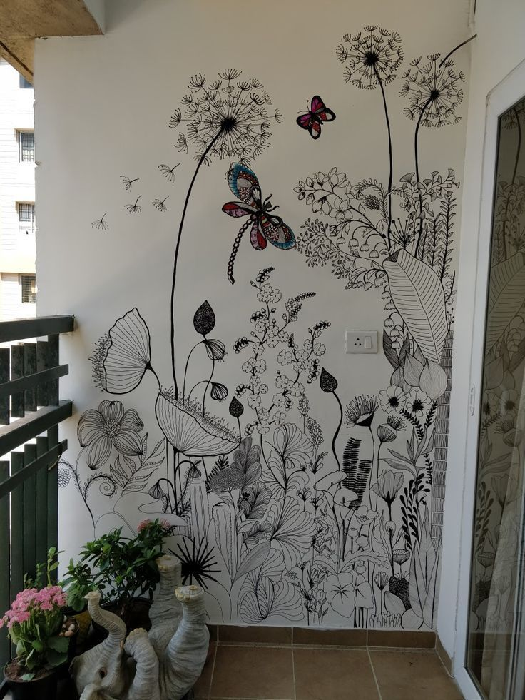 Painted Flowers On Bathroom Wall By Milda Wall Painting Flowers Painting Art Projects Mural Design