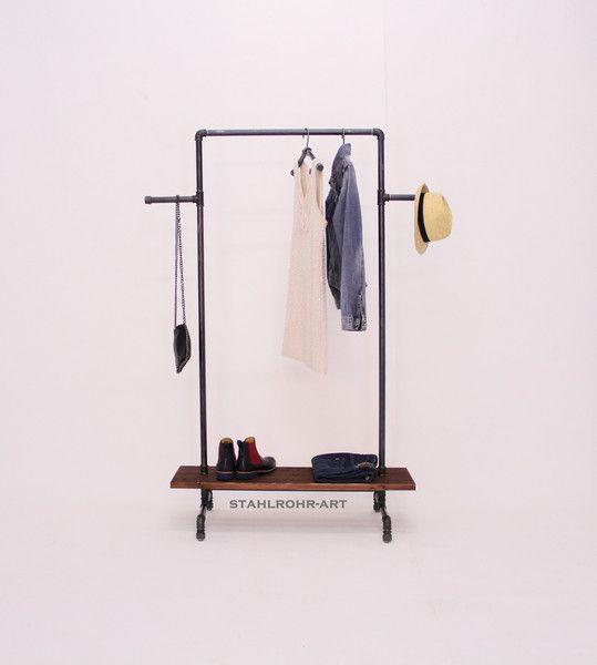 Perfect Schulter u Tragetaschen Garderobe Industriedesign Kleiderstange Stahlrohr ein Designerst ck von stahlrohr art