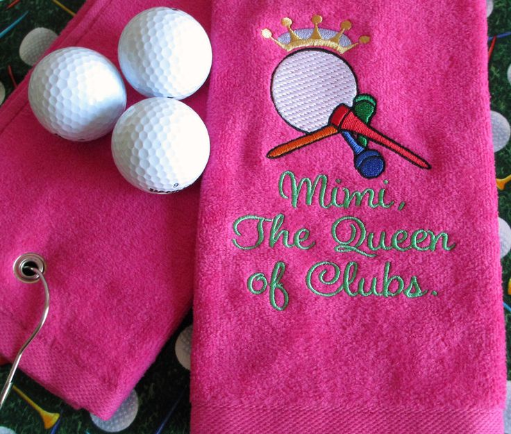 Custom Embroidered Golf Towel - The Queen of Clubs - Personalized - Embroidered - Golf Gift by CreativeSenseCom on Etsy