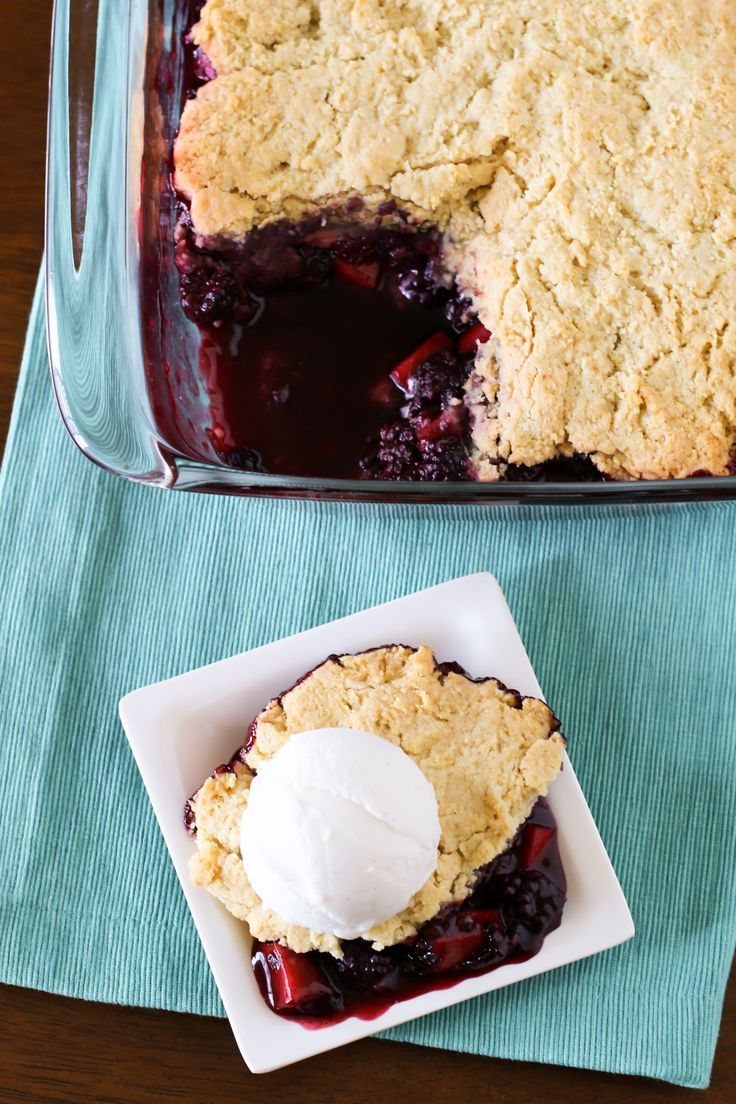 ... Cobbler. Fresh blackberries and sweet apples, with a flaky biscuit
