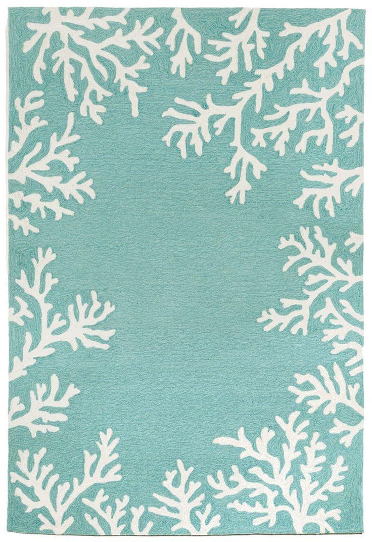 Nautical rugs for bathroom - Coral Bordered Aqua Area Rug