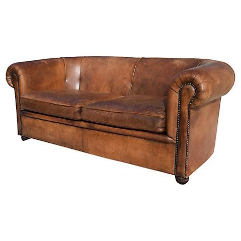 French Distressed Leather Sofa $5,295.00