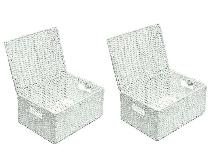 2 x Arpan Large Paper Rope Storage Hamper Basket With Lid - Ideal For Home/Office & Gifts Hamper - White: Amazon.co.uk: Kitchen & Home