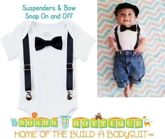 Baby Tuxedo - Tux - Black Suspenders - Black Bow Tie - Infant - Dressy Baby - Boy Wedding - Baby Boy Clothes - Newborn Tuxedo - Black Tie by Noah's Boytique