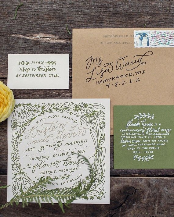 Working as a team, Kristen hand lettered and illustrated the wedding stationery, incorporating floral elements into her pretty, simple design. The stationery was screen printed by Steven on natural colored paper with metallic gold and white inks, and packaged in a Kraft paper envelope, with hand-lettered addresses.