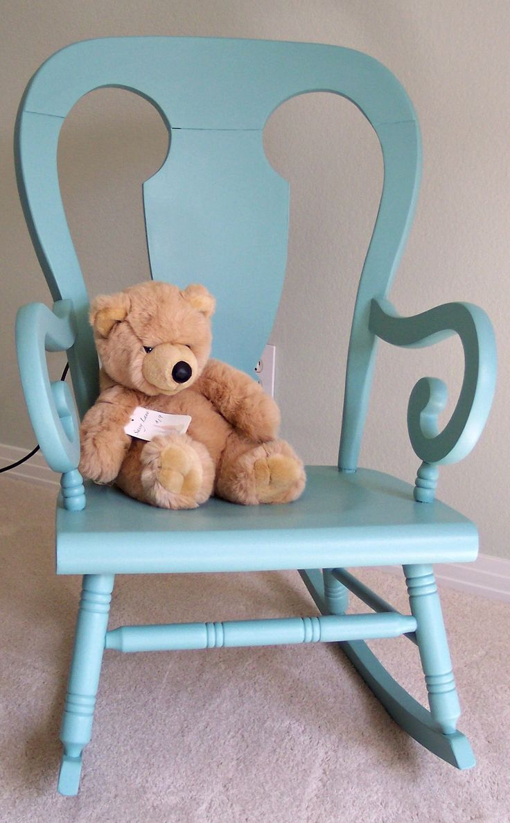 Antique rocking chair all dolled up in a luscious new paint color perfect for the nursery at Sassy Lane.