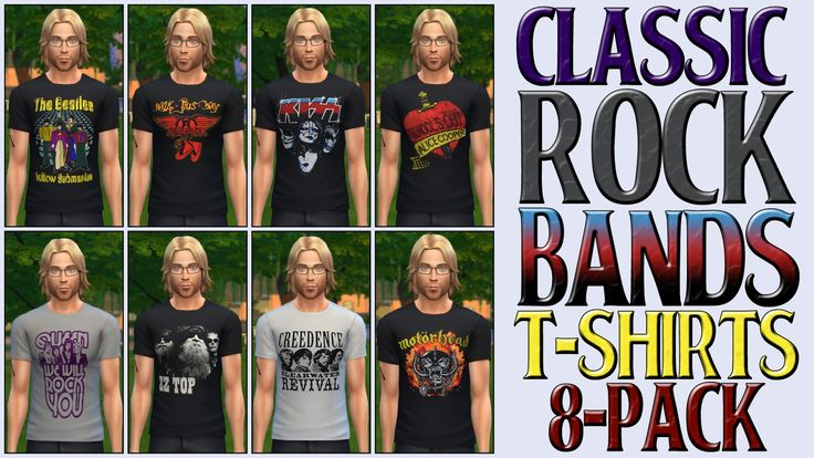 Top Sims4 Downloads Classic Rock Bands T Shirts 8 Pack