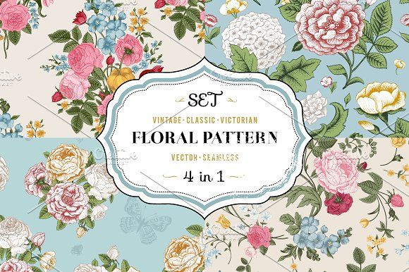 Vector vintage floral pattern. Set. by olga.korneeva on @creativemarket