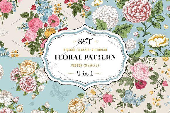 Vector vintage floral pattern. Set. by olga.korneeva on @creativemarket