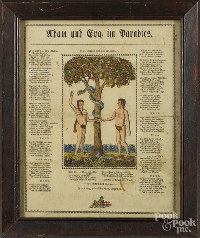 Reading, Pennsylvania printed and hand colored Adam and Eve fraktur, by Bruckman, 14'' x 11 1/4''. - Price Estimate: $140 - $240