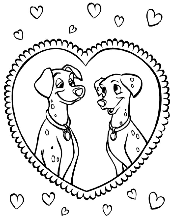 101 dalmatians make love in the mirror coloring pages for kids printable 101 dalmatians coloring pages for kids