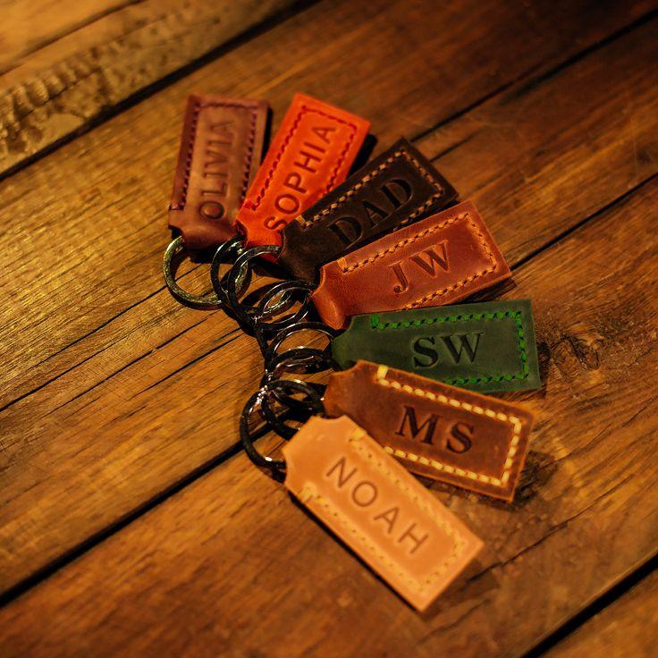 Custom name keychain personalized leather key chain keyfob