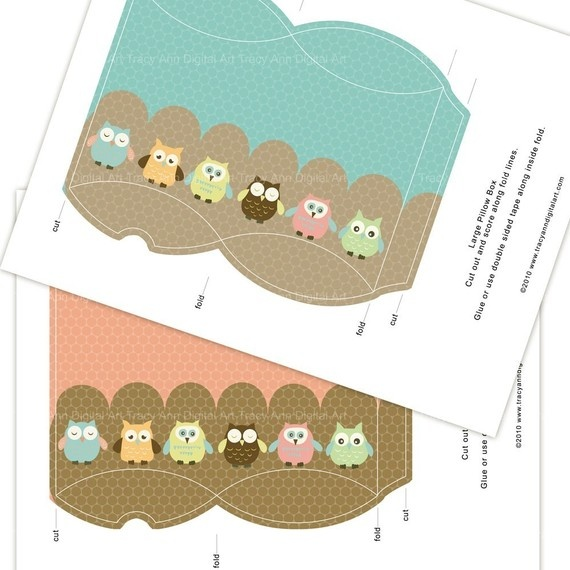 1000 images about printable gift boxes bags on for Owl pillow box template