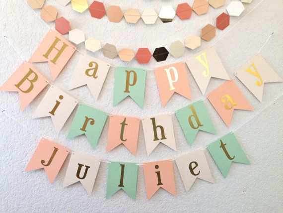 Happy Birthday Banner - Gold Foil Birthday Banner- Peach Mint Ivory shown - other colors are available