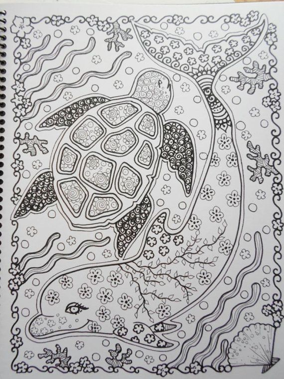 Gift idea for stacey  Sea TuRtLEs Coloring Book You be the ARTIST Fun by ChubbyMermaid, $12.00