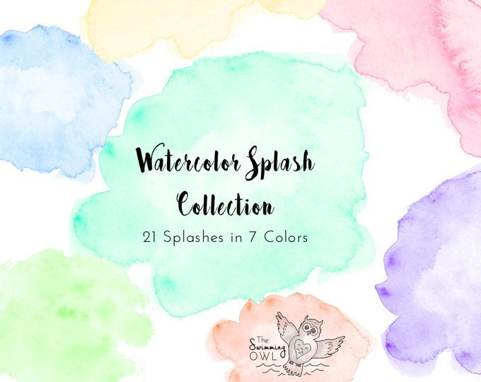 Watercolor Splash Clipart Watercolor Washes Pastel Watercolors