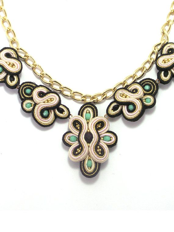Statement hand embroidered necklace by bijouSOL on Etsy, $57.00