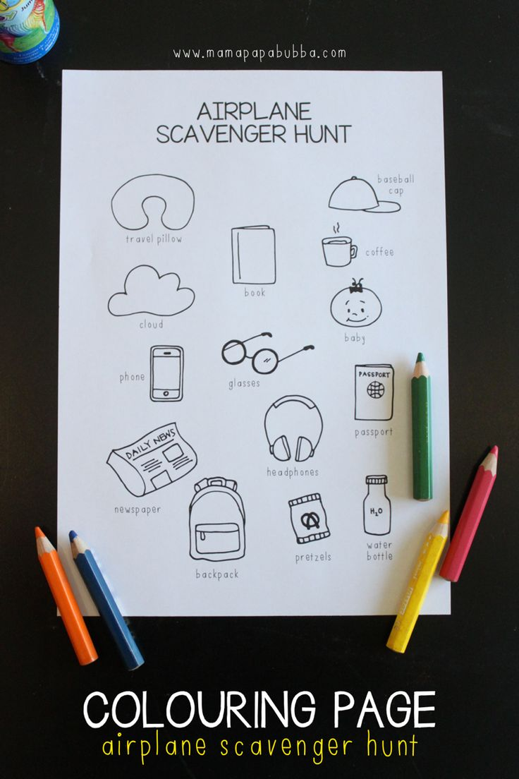 Colouring Page Airplane Scavenger Hunt
