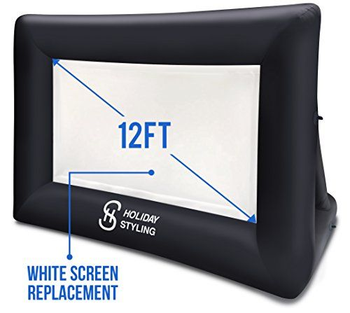 "Portable Projector Screen White Replacement Part For Outdoor Movie Screen (12ft) To Fit Original 16ft Inflatable By Holiday Styling  NEW WHITE SCREEN REPLACEMENT FOR THE ORIGINAL HOLIDAY STYLING INFLATABLE MOVIE SCREEN - you can wash one and use one or store one so your movies and TV shows for your outdoor cinema will never be interrupted  HUGE MOVIE TV CINEMA SCREEN SPARE PART FOR ALL YOUR OUTDOOR FUN - this 12 foot (175 x 125"") replacement is perfect attached with the velcro to the h..."